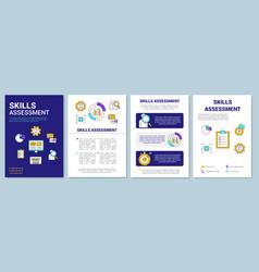 Skills assessment blue brochure template layout vector