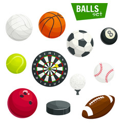 Sport balls and game items icons set vector