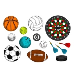 Sporting balls hockey puck dart board sketches vector