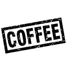 Square grunge black coffee stamp vector