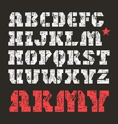 Stencil plate serif font military vector