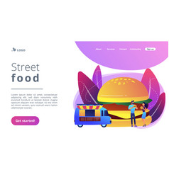 street food concept landing page vector image