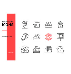 street food - line design style icons set vector image