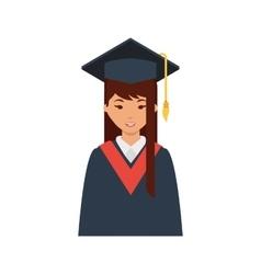 student with graduation uniform vector image