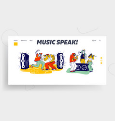Stylish characters modern musicians performing on vector