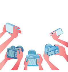 surrounded cameras vector image