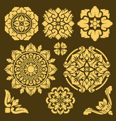 thai traditional ornament and frame borders vector image