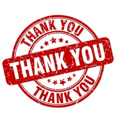 thank you red grunge round vintage rubber stamp vector image