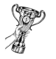 trophy hand holding champions cup with number vector image
