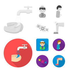 under a tap with water wash their hands the vector image