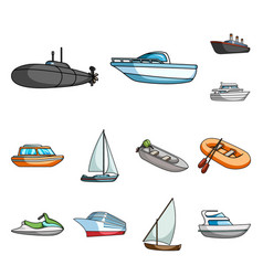 water and sea transport cartoon icons in set vector image