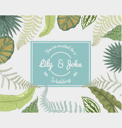 Wedding invitation card vintage engraved template vector