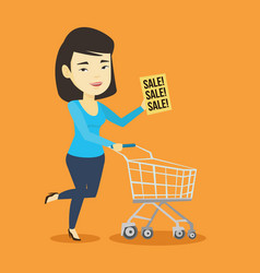 woman running in hurry to the store on sale vector image