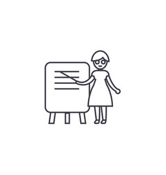 Woman teacher line icon sign vector
