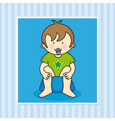 Baby boy sitting on the potty vector image