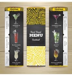 Cocktail menu document template vector image