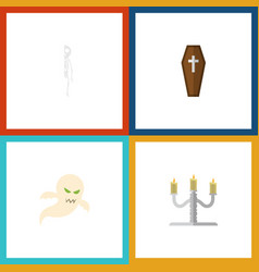 flat icon halloween set of ghost candlestick vector image