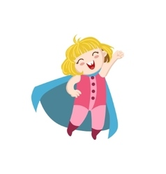 Girl dressed as superhero with blue cape vector