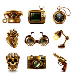 Steampunk icons set vector