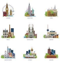 Travel destinations icon set vector