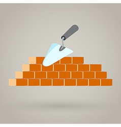 Trowel and brick wall icon building design vector image vector image