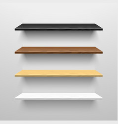 Wooden shelves vector image