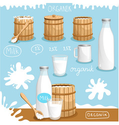 natural and organic dairy products advertising vector image