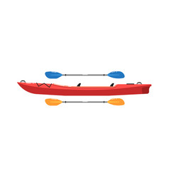 river canoe with paddle isolated on white icon vector image