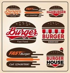 Set of burger shop icon logo design For branding vector image