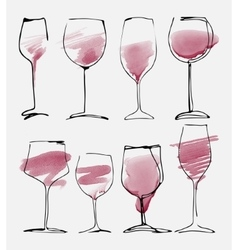 Wine glass set - collection sketched watercolor vector image vector image