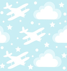 Baby boy seamless pattern with cartoon toy vector image