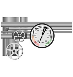 Gas pipe valve and pressure meter vector image