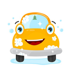 happy cute fun clear car flat vector image