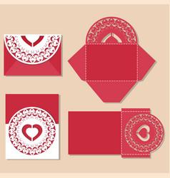 heart with love inscription laser cut invitation vector image