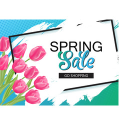 spring sale banner with pink tulips and frame vector image vector image