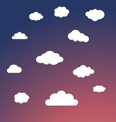 Cartoon Retro Night Sky With Clouds Background vector image vector image