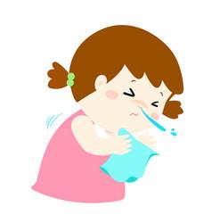 Little girl sneezing vector