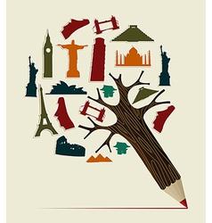 World travel pencil vector image