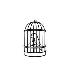 a bird in the trap hand drawn outline doodle icon vector image