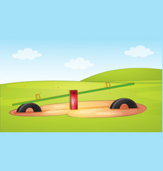 a seesaw at playground scene vector image