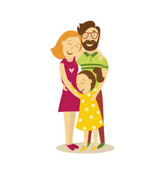 Adult couple and young girl hugging vector