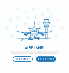 Airplane on runway concept with thin line icon vector