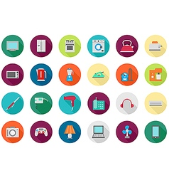 Appliances round icons set vector image
