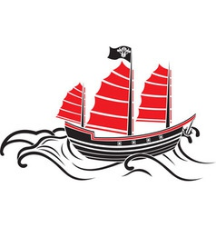 Asian boat on the waves the stencil vector image