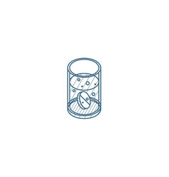 Asperin pill glass water isometric icon 3d vector
