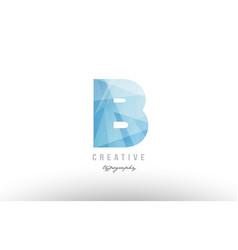 B blue polygonal alphabet letter logo icon design vector