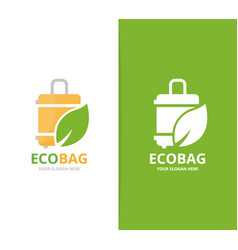Bag and leaf logo combination baggage vector