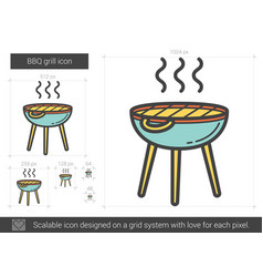 Bbq grill line icon vector