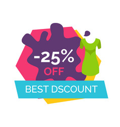 Best discount with 25 off promotional emblem vector