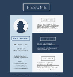 blue business themed resume template vector image